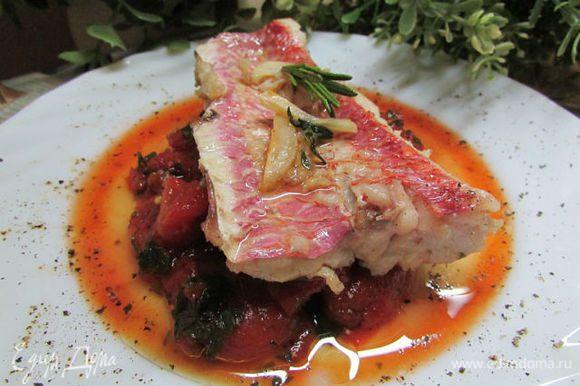 Обжаренную рыбу выложить на гарнир из томатов. При подаче можно украсить листочками базилика или розмарина и присыпать маслинами, которые предварительно натереть на мелкой тёрке и подсушить. Приятного аппетита!