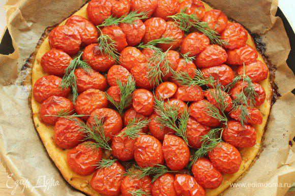 Выпекать 30 минут при Т 180 градусов. Украсить готовый тарт укропом и подавать горячим. Приятного аппетита!!!