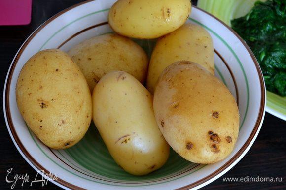 """Предварительно отварить картошку """"в мундире"""". Варить около 40 минут. Готовый картофель еще горячим очистить от кожуры..."""
