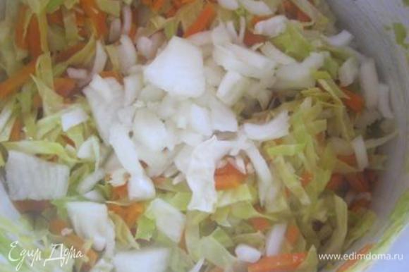 К похлебке добавить нарезанный лук. Влить бульон. Накрыть крышкой и варить 20-25 минут, до мягкости капусты.
