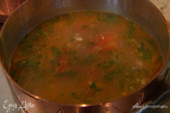 Измельченное куриное мясо, рубленую зелень (немного зелени оставить), цедру и сок лимона добавить в суп, посолить, перемешать и выключить огонь.