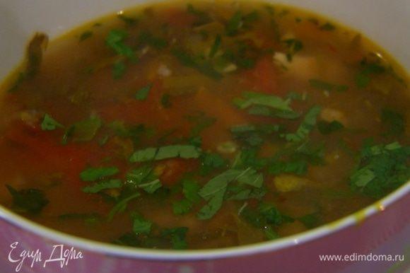 Разлить суп в тарелки и посыпать оставшейся зеленью.