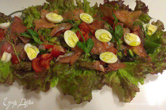 Посолить, поперчить по вкусу и полить салат оливковым маслом и маслом из авокадо.