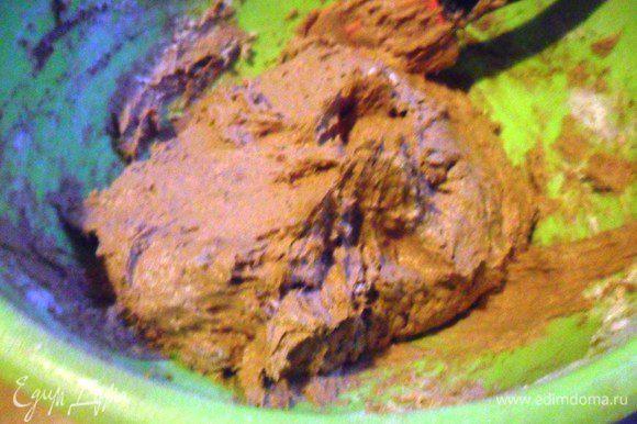 Постепенно небольшими порциями ввести просеянную муку с содой. Добавить какао и корицу. Перемешать.