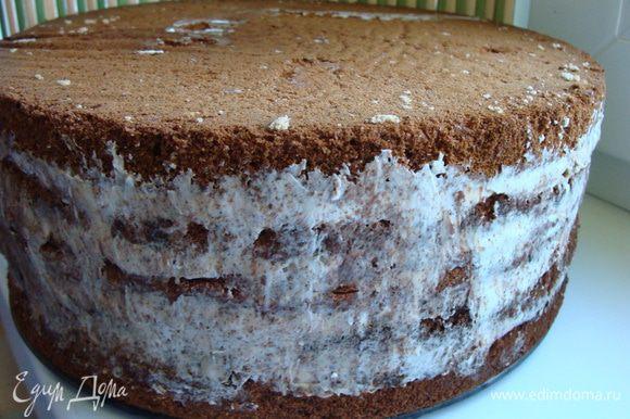 Затем смазать кремом №2. Сверху положить шоколадный корж. Снова сметанный крем и медовый корж. Торт получился высоким.