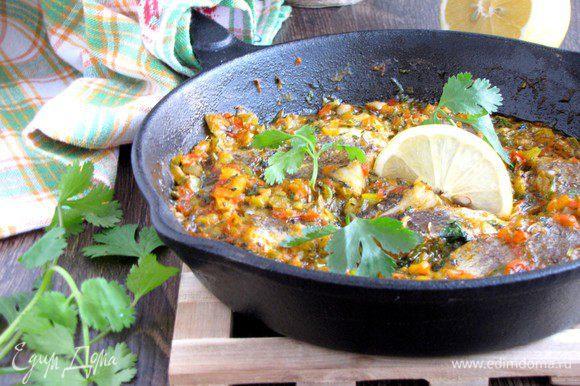 Рыба готова! На гарнир очень хорошо подать отварной картофель, пюре или рис. Приятного аппетита!
