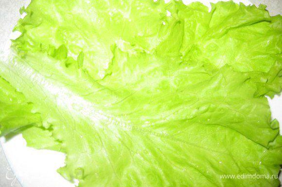 На дно тарелки выложить листья салата, по 3- 4 листа на каждую. Сбрызнуть заправкой.