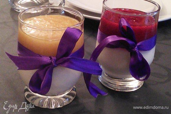 Когда панна котта застынет, выложите сверху по три ложки желе, охладите до полного застывания желе. То же самое можно сделать с малиновым желе, его рецепт здесь: http://www.edimdoma.ru/retsepty/71888-mini-chizkeyk-iz-koziego-syra-s-malinoy. Подавайте охлажденным.