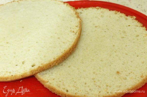 Готовому бисквиту дать остыть на решетке и разрезать на два коржа.