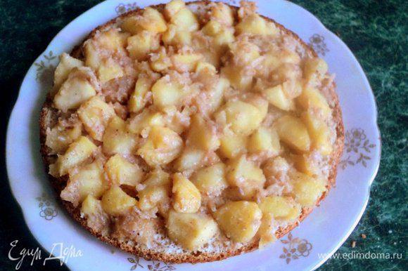 Сборка торта: на корж выложить яблочную начинку.