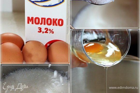 Тесто. Молока 1 литр. Блины эти готовились еще в то время, когда у нас не было Веснушки, поэтому молоко, увы, из магазина. В кастрюльку подходящую вылить и подогреть. Градусов до сорока. Неполную чайную ложку соли. Четыре яйца. Тут позволю себе посоветовать. Любимая всегда так делает. Яйца, по одному, вылейте сначала в какую-нибудь посудку, а уж потом в кастрюлю с будущим тестом. Яйца – дело такое. Бывает и сюрпризы случаются. А повторять процесс, если что…