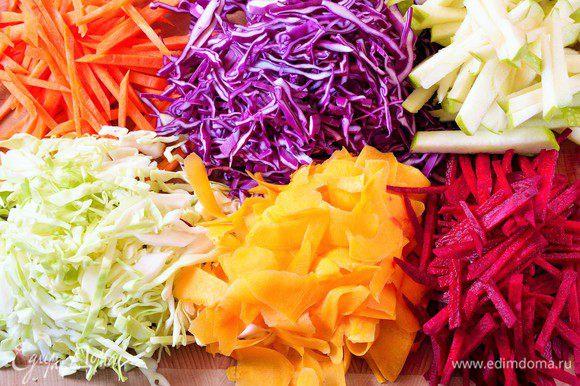 Подготовить овощи: оба вида капусты мелко нашинковать. Яблоки, морковь и свёклу - соломкой. Тыкву - слайсами при помощи овощечистки.