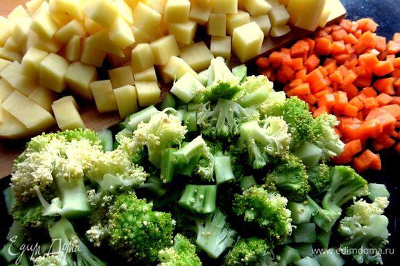 Картофель тоже на кубики, брокколи на небольшие кусочки.