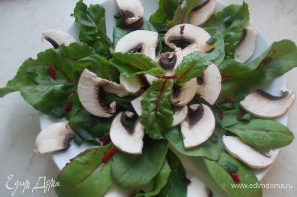 Листья свеклы и шпинат выложить на тарелку, посыпать лучком и стеблями листьев свеклы, выложить сверху грибы.