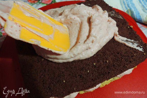 Теперь бисквит и снова треть крема, затем бисквит, оставшийся крем, и песочный корж.