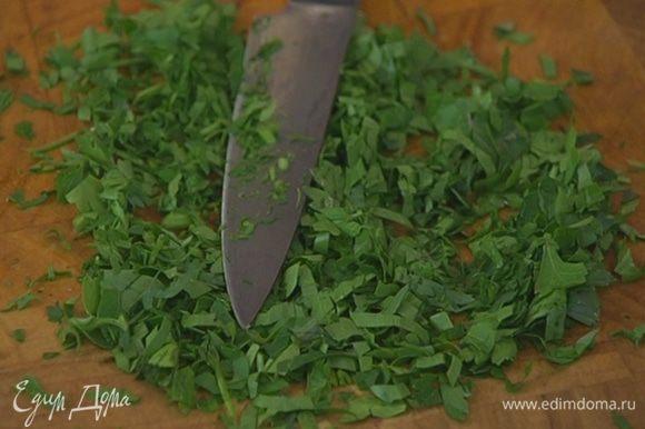 Укроп и петрушку мелко порубить — должна получиться 1 ст. ложка.