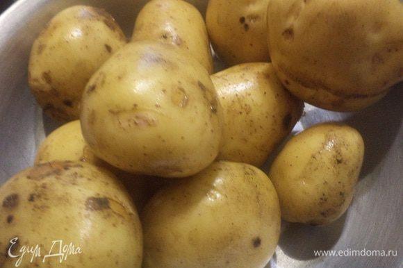 Картофель тщательно вымыть, сбрызнуть растительным маслом, посыпать солью и запекать в духовке при температуре 200 градусов 40-50 минут.