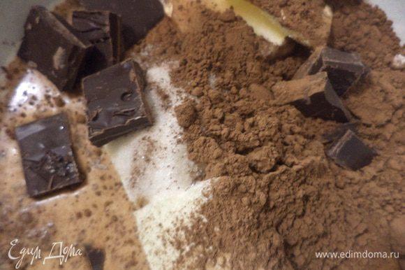 В кастрюлю сложить сливочное масло, 100 гр шоколада, сахар, какао, влить молоко. Поставить кастрюлю на небольшой огонь, довести смесь до кипения, тщательно перемешать, снять с огня.