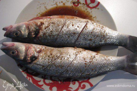 Рыбу почистить от чешуи, удалить внутренности, жабры, помыть, обсушить бумажными полотенцами. Острым ножом сделать глубокие надрезы. Полить снаружи и внутри соевым соусом, сбрызнуть оливковым маслом, посыпать кориандром, положить в брюшко по веточке тимьяна, оставить на 15 минут.