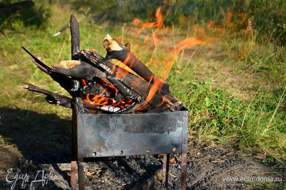 Для приготовления морепродуктов нам понадобятся угли. Мы не любим использовать готовые угли, приятно, когда угольки добыты после сжигания костра.