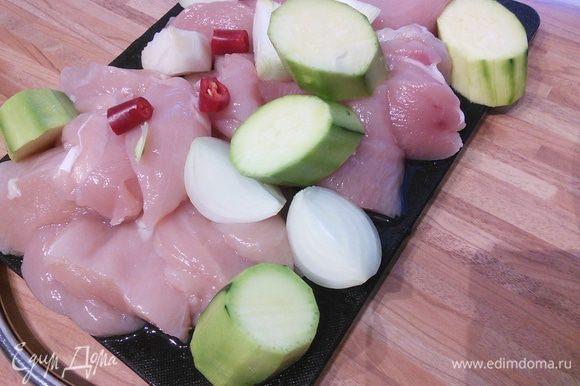 Куриное мясо, очищенный цукини, луковицу и чили без семян пропустить через мясорубку. По желанию можно добавить чеснок по вкусу.