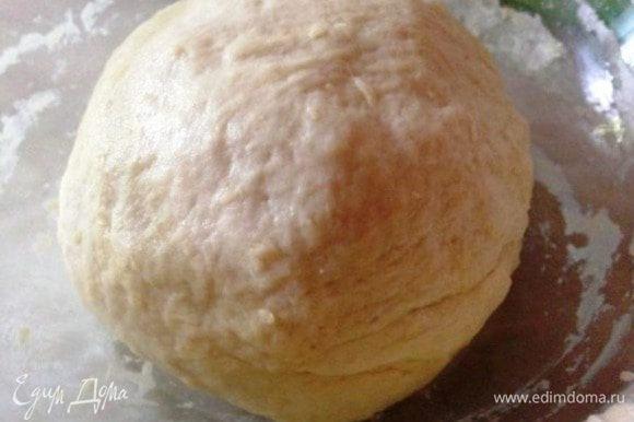 Вылить в миску и постепенно добавить муку (ее может уйти немного меньше или больше), вымешивая тесто.
