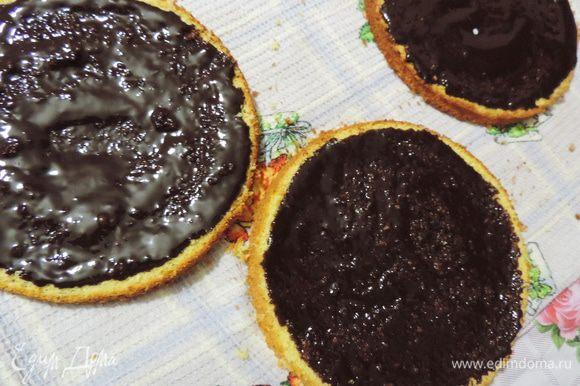 Каждый пласт бисквита смазываем шоколадной массой. Немного ждем, пока она впитается и загустеет.