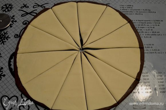 Сверху выложить слоеное тесто и разрезать тесто острым ножом на сегменты (у меня 12 сегментов).