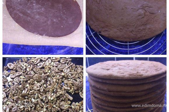 Отрезаем по кусочку тесто и раскатываем до нужного нам диаметра. У меня был овальный торт, поэтому я вырезала коржи по овальной форме. Раскатывала сразу на пергаменте, на котором выпекала. Мне так было проще. Выпекаем коржи в разогретой до 175-180°C духовке минут 5-7 (следим за своей духовкой). Пока выпекаем один, можно успеть раскатать другой корж и процесс движется очень быстро, на мой взгляд. У меня получилось 10 коржей. В торте используется грецкий орех, поэтому его необходимо просушить в духовке, так вкуснее.