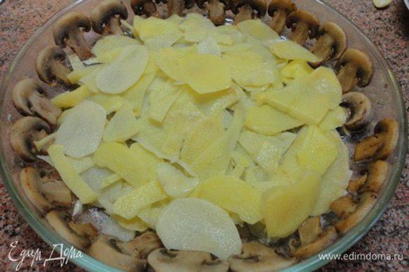 Картофель нарезать как можно тоньше. У меня с этим отлично справляется терка. Часть картофеля выложить на дно формы. Его можно не солить, ведь сверху будут грибы.