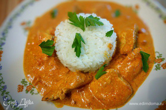 Блюдо готово. Идеально к нему подходит рис. Приятного аппетита!