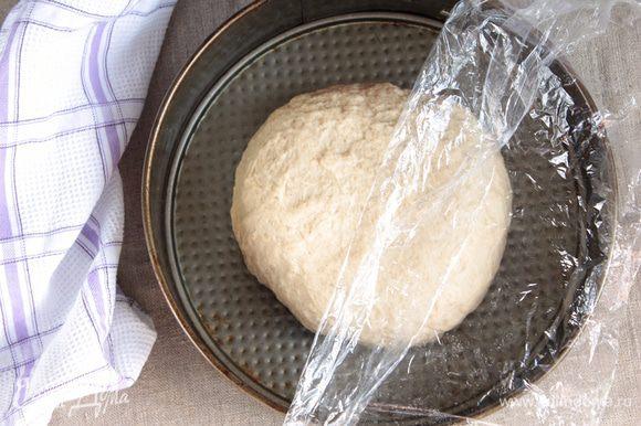 Форму для выпечки слегка смазать маслом, выложить колобочек, приплюснуть его, накрыть пленкой и оставить на расстойку.