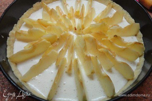Яблоки выставить вертикально по кругу в форму с тестом и залить яичной смесью.