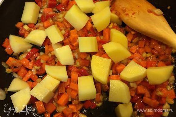 Тушим лук и чеснок до золотистого цвета, добавляем томатную пасту. Потом добавляем остальные овощи и тушим все минут 5.