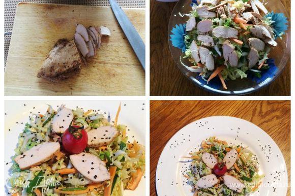 Соединить все ингредиенты в салатнике и залить заправкой. Подаем сражу же, т. к. овощи начинают размокать и заправка оседает на дно. Свежий, хрустящий и очень освежающий салатик, рекомендую. Приятного аппетита!!!
