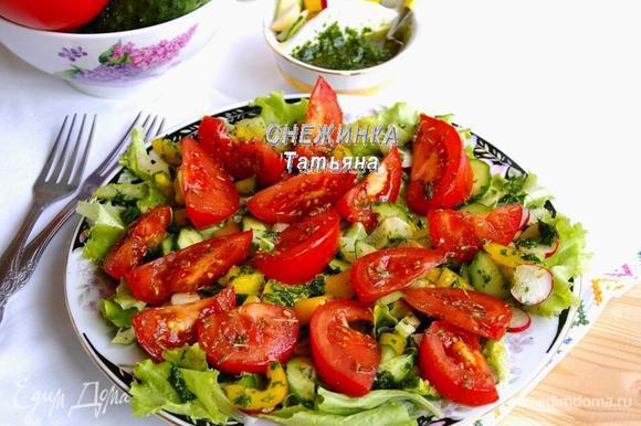 Подаем салат как самостоятельное блюдо или в дополнение к мясным, рыбным блюдам.