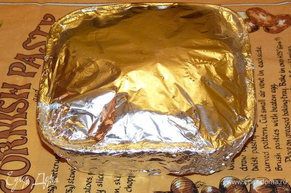 Сделать из фольги крышку. Поставить в заранее разогретую до 180°C духовку на 1 час 20 мин.