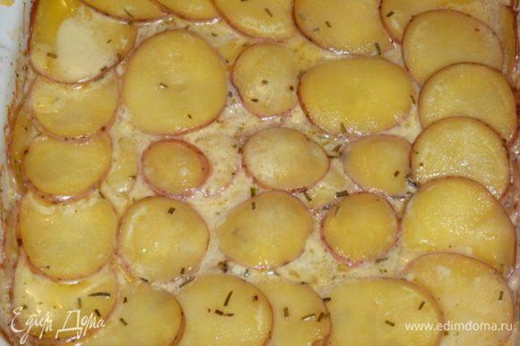 Затем снять фольгу и запекать 15 — 20 мин до золотистого цвета картофеля.