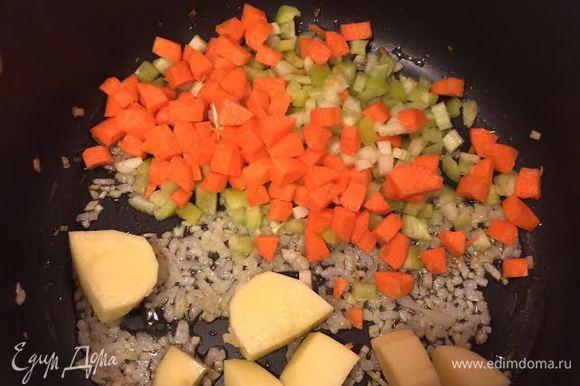 Лук потушить до золотистого цвета, добавить морковь, сельдерей, болгарский, чеснок и картофель, тушить 3 — 4 минуты. Залить овощным бульоном и варить 10 минут.