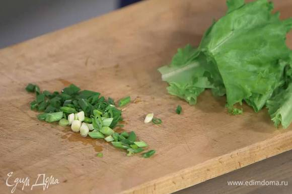 Зеленый лук мелко порезать.