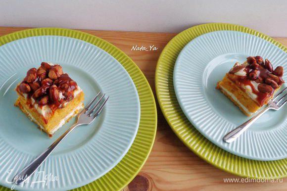 Нарежем на квадраты и подадим порционными пирожными.
