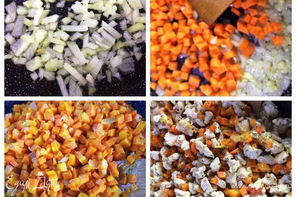 Вместо докторской колбасы, которую в советские времена использовали в салате, я использую куриное филе. Но чтобы оно было сочным и вкусным, я его тушу с луком и морковью. Обжариваем на растительном масле лук до мягкости. Пока жарится лук, нарезаем морковь кубиками (размер выбираете сами, кто любит мельче, кто крупнее). Отправляем морковь в сковородку к луку и также тушим. Нарезаем кубиками куриное филе. Отправляем к овощам. Солим и перчим по вкусу и тушим до готовности, остужаем.