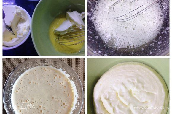 Заливаем желатин холодной водой. Желтки взбиваем с сахарной пудрой добела. Белки взбить со щепоткой соли до плотности. По рецепту яйца добавлялись сырыми, как это делается в классическом тирамису. Я же этого не могу себе позволить, яйца магазинные, поэтому я провела их термообработку на водяной бане до 72°С. К желткам подмешиваем маскарпоне, аккуратно лопаткой вводим белки. Распустить желатин на водяной бане. Остужаем. Частями вмешиваем в основную часть крема, добавляем ликер. Мусс готов.