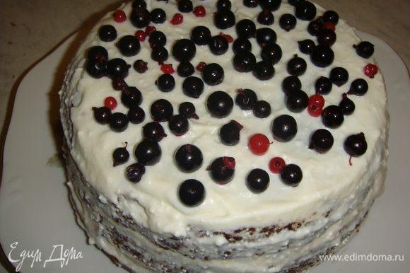 Верх и бока торта смазать оставшимся кремом (без ягод) и сверху выложить смородину. Торт убрать в холодильник на пару часов.