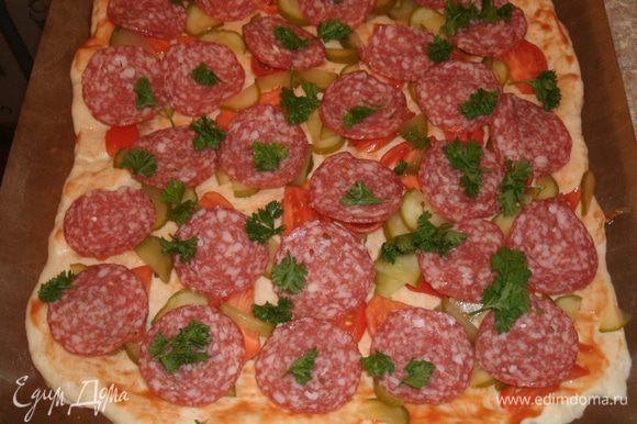 Колбасу нарезать тонкими кружочками, разложить поверх овощей. Мелко нарезать петрушку и разложить ее на колбасу.