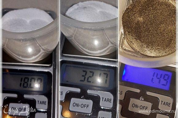 Основными компонентами засолки будут три. Нитритная соль — восемнадцать граммов (т. е. один процент от веса). Обычная поваренная соль — надо брать тоже один процент от веса мяса (мы взяли чуть меньше). Перец. Сколько взято, видно на картинке, но тут дело вкуса. Остальные специи оставляю «за кадром». Тут все зависит от ваших вкусов и пристрастий.