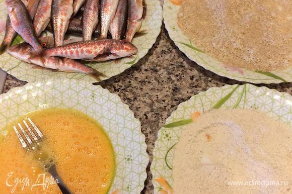 Барабульку вымыть, обсушить бумажным полотенцем. Яйцо слегка взбить. Паремезан натереть на мелкой терке и смешать с панировочными сухарями. Кукурузную муку смешать с солью и перцем.