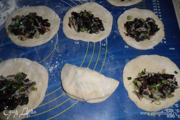 На лепешки выкладываем подготовленную начинку. Защипываем края лепешки. Получается пирожок.