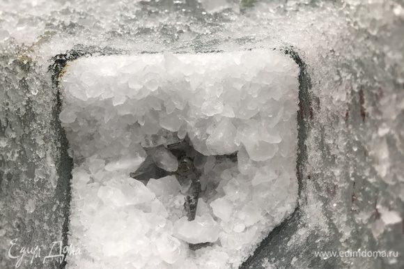 Лед поместите в блендер измельчите (в импульсном режиме) в крупную крошку.