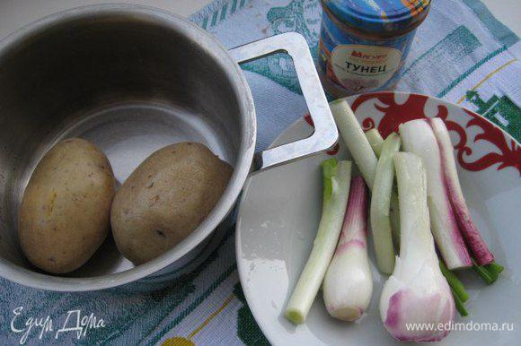Картофель отварить в мундире до готовности, остудить. Лук почистить — я брала молодой лук, его белую часть Для пирога я взяла филе тунца в оливковом масле ТМ «Магуро». Если тесто замороженное, то предварительно разморозить.